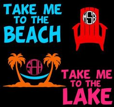 A personal favorite from my Etsy shop https://www.etsy.com/listing/398945185/take-me-to-the-beach-lake-decal-palm
