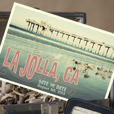 Vintage Travel Postcard Save the Date (La Jolla, California)