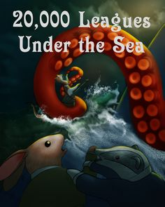 Krister Eide 20,000 Leagues Under the Sea with Animals. Ned Land Battles the Giant Squid  #kidslitart #art #rabbits #kids #underwater #illustration #kristereide #ocean #cuteanimals #julesverne #20000leagues #rabbit #rabbits #rabbitart #green #sea #scbwi #scbwitribeshare #squid