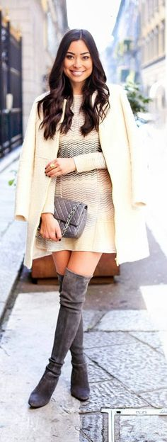 Missoni Dress with Stuart Weitzman Grey Highland Over The Knee Boots and Zara Cream Coat at Milan Fashion Week