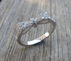 Bow Rings Silver Rings Crystal Rings Gemstone Rings by Belesas, $48.99