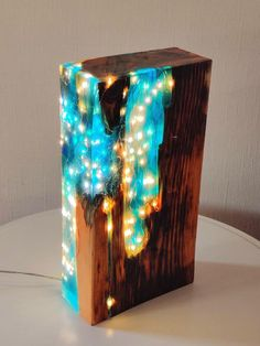 Blue tinted resin Reclaimed Antique Pine Wood Light block Sculpture made to or. - Blue tinted resin Reclaimed Antique Pine Wood Light block Sculpture made to order - Diy Resin Window, Diy Resin Art, Diy Resin Crafts, Wood Crafts, Diy And Crafts, Blue Crafts, Stick Crafts, Paper Crafts, Epoxy Resin Wood