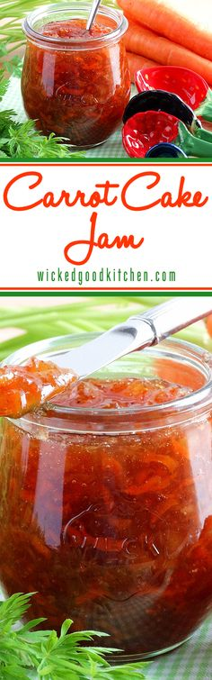 Carrot Cake Jam - Best Ever ~ Luscious, naturally sweetened and packed with flavor from fresh carrots, pineapple, coconut and spices, with a… Jelly Recipes, Jam Recipes, Canning Recipes, Carrot Cake Jam, Carrot Jam Recipe, Canned Food Storage, Wicked Good, Preserving Recipe, Jam And Jelly