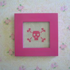 pink on white skull cross stitch by City the NZ Cupcake Queen, via Flickr