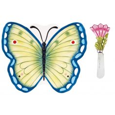 Entertain in style with the Courtyard Butterfly Snack Plate with Spreader. Perfect for serving appetizers and entertaining, this plate is the canvas for fanciful butterflies and flowers and fun way to serve your dips and spreads! A perfect serving set.