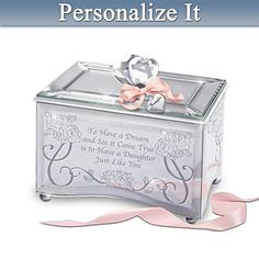 Personalized Mirrored Glass Music Box For Daughters