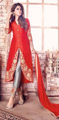 Red Embroidered Work Sreaight Suit For Reception Wear