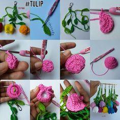 Tulip Crochet Flower with double crochet Tutorial DIY