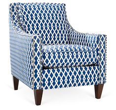 One Kings Lane - Taking Shape - Prince Chair, Blue. Classic shape,  interesting pattern.