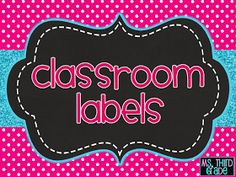 Third Grade: Classroom labels freebie and DIY crate seats - great for scrapping supplies also! Classroom Labels, Classroom Freebies, Classroom Organisation, School Organization, Classroom Management, Classroom Ideas, Daycare Labels, Classroom Design, Class Management