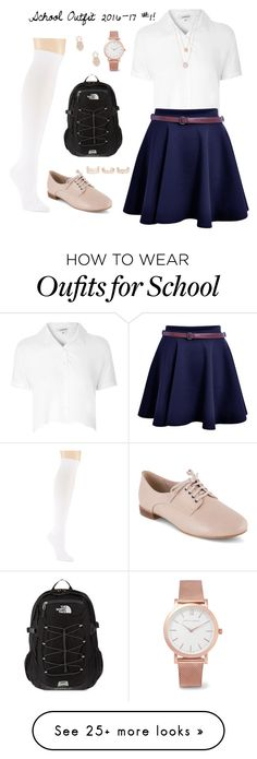 """School Outfit 2016-17 #1!"" by designer01kitty on Polyvore featuring Glamorous, Hue, Clarks, The North Face, Larsson & Jennings, Michael Kors, New Look, Sole Society, school and uniform"
