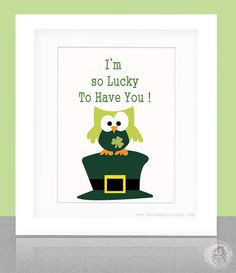 St Patrick's day Lucky Owl Print  8 x 10 Special by Mariapalito, $15.00