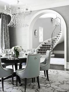 ♅ Dove Gray Home Decor ♅  grey dining room with soft aqua chairs