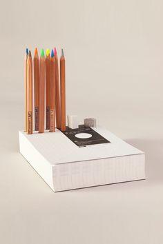 Jumbo Color pencil block  A5 paper block that organize your tabletop handwriting tools, print grid