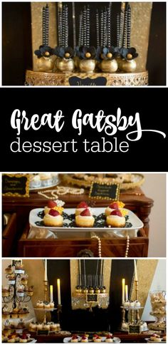 Great Gatsby dessert table with the most amazing black and gold Roaring 20s backdrop featured on The Party Teacher | http://thepartyteacher.com/2014/08/04/guest-party-great-gatsby-dessert-table/