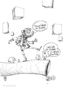 """#DailySketch by Skottie Young - """"I'm already trouble."""" Another sketch of my character BOY. Whenever I don't have inspiration to do my take on popular characters, Boy is always there to let me peek in on his adventures. I have some plans for Boy so you'll see more of him at some point. Original art available in my storehttp://skottieyoungstore.bigcartel.com"""