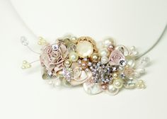 Blush Bridal Comb or Clip-Vintage Bridal Hair Clip- Floral Wedding Hair Piece- Blush Wedding Hair Accessories- Champagne pinkBrass Boheme. $62.00, via Etsy.
