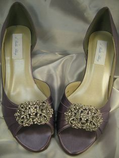 Wedding Shoes Pale Purple Shoes Vintage Style Rhinestone Brooch Over 100 Colors To Pick From. $135.00, via Etsy.