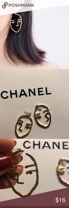 minimalist gold face earrings minimal gold style face earrings vintage Jewelry Earrings