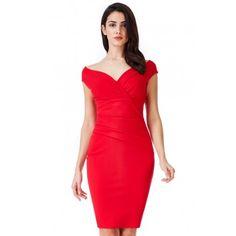 b77316a940 Czerwona ołówkowa sukienka midi na wesele z efektownym marszczeniem w talii