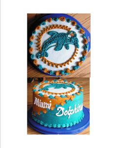 Miami Dolphins Grooms Cake This was a VERY HIGH 2 tier cake in BC icing. It was a grooms cake served at the rehearsal dinner. Sons Birthday, Husband Birthday, Birthday Cakes, Birthday Ideas, 2 Tier Cake, Tiered Cakes, Miami Dolphins Cake, Dolphins Logo, High Heel Cupcakes