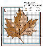 Esquemas de hojas de árboles en punto de cruz | Punto de cruz; free maple leaf cross stitch pattern with Anchor color key.