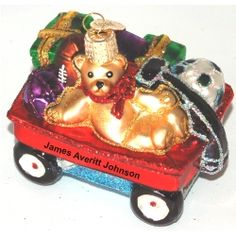 Baby's Little Red Wagon - Personalized First Christmas Ornament