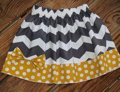 Gray Chevron Skirt with Matching Bow, Girls Boutique Party Skirt. Easter Skirt, Spring Twirl Skirt, Made to Order, Baby Girl Skirt. $21.00, via Etsy.