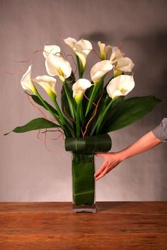 Calla Lilies Arranged in Glass Vase by Westmount