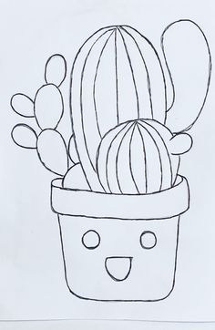 Cactus Drawing, Cactus Painting, Butterfly Drawing, Plant Painting, Art Drawings For Kids, Disney Drawings, Easy Drawings, Cactus Pictures, Stick Figure Drawing