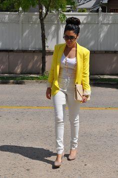white pants & yellow blazer