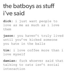 Tumblr<< Only repined for Damian's. He speaks truth.