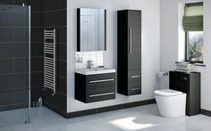 Enhance your bathroom storage with our range of stylish & affordable bathroom furniture, including bathroom units, bathroom cabinets & designer vanity units. Contemporary Bathroom Inspiration, Furniture, Grey Bathroom Furniture, Loft Bathroom Decor, Bathroom Units, Small Bathroom, Bathroom Furniture Uk, Black Bathroom, Bathroom Inspiration