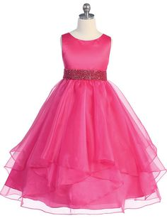 Fuchsia Asymmetric Ruffles Satin/Organza Flower Girl Dress (Sizes in 9 Colors)