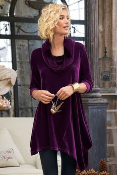 Velvet Asymmetrical Tunic from Soft Surroundings I love cowl necklines but imagine I would overheat in this one! Beautiful
