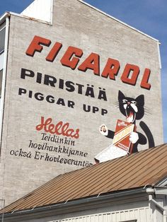 Suomi even has anthro art! Lappland, Shopping Street, Old Ads, Nature Animals, Helsinki, Signage, Art Decor, Street Art, Nostalgia