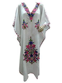 Women's Bohemian Nighty Kashmir Crewel Embroidered Long White Caftan