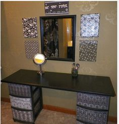 D.I.Y Vanity and make up storage. Two storage containers, table top and a mirror and voilà!