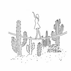 Draw better cactuses drawn from other pins on my illustration or marker collection Minimalist Drawing, Minimalist Art, Aesthetic Drawing, Aesthetic Art, Outline Art, Simple Art, Doodle Art, Line Drawing, Easy Drawings