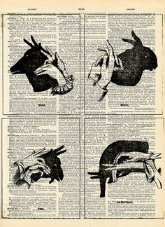 Vintage Dictionary Print Shadow Animals by missquitecontrary, $10.00