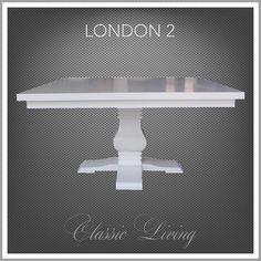 NYHET!  London 2. Lekkert og meget robust håndprodusert kvadratisk spisebord. Bordet er hvitmalt solid bjørk.  Et flott bord til både hverdags og til fest. Dette bordet gir plass til 8 stk. stoler.  Bordplaten er laget i hvitmalt poppel og MDF og bordbenet er laget i bjørk.  Mål: Lengde:145 cm Bredde: 145 cm Høyde:  77 cm  Kommer på lager i Juli og kan forhåndsbestilles nå hos #classicliving