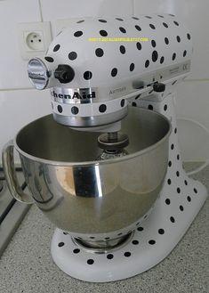 Kitchen Mixer / Appliance Removable Vinyl Decal / Sticker - 360 1/2 Polka Dots (for Cuisinart, KitchenAid, Kitchen Aid, other appliances) via Etsy