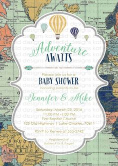 Adventure awaits baby shower invitation gender by katiedidesigns
