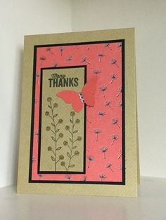 handmade thank you card ... Flowering Fields ... kraft and coral with black mats ... Created by Julia Jordan ... Stampin' Up!