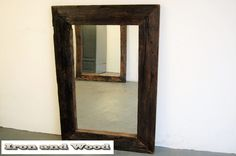 Small robust mirror from old scrap-boat boards, dim. 64 x 52 frame 10 cm - Mirror Handmade Mirrors, Living Room Mirrors, Old Wood, Hardwood, Scrap, Frame, Boards, Home Decor, Planks