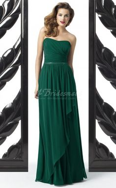 Dark Green Chiffon A-line Sweetheart Floor-length Bridesmaid Dresses(BD725)