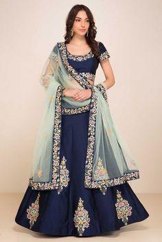Elegant Navy Blue #Lehenga #Choli
