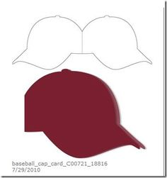 Baseball cap card (using Silhouette). but could be hand drawn & cut Boy Cards, Kids Cards, Cute Cards, 3d Templates, Card Making Templates, Shaped Cards, Card Making Techniques, Marianne Design, Card Patterns