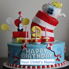 """Cat in The Hat"" Birthday cake: Thing 1 and Thing 2 and the fish in the pot!  We love Dr. Seuss!"
