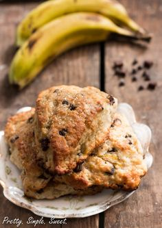 These banana chocolate chip scones are light, rich and classic cream scones. They are loaded with chocolate chips and bananas.